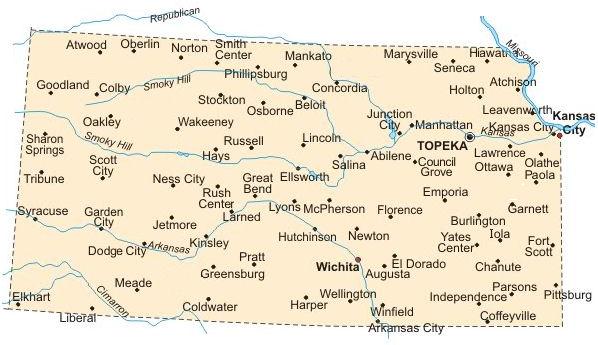 Kansas Bicycle Guide Cities - Map of kansas cities