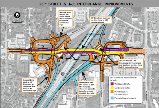 95th Street Diverging Diamond Interchange (DDI)