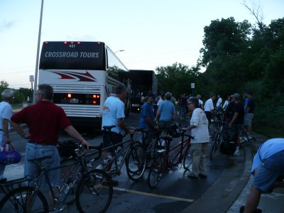 Boarding the bus in Lenexa