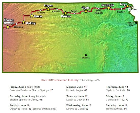 Biking Across Kansas 2012 Route