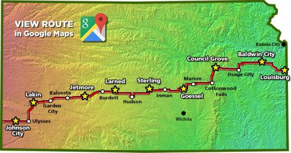 Biking Across Kansas 2015 Route. Image courtesy bak.org.