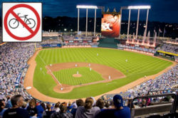 Kauffman Stadium - No Bicycle Parking - Original image courtesy Wikipedia