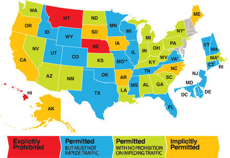Two-Abreast Bicycling Laws by State
