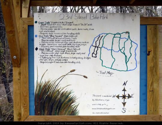 23rd Street Bike Park Map - This sign is part of the informational kiosk at the 23rd Street Bike Park, describing the available trails, ranging from easy to difficult.