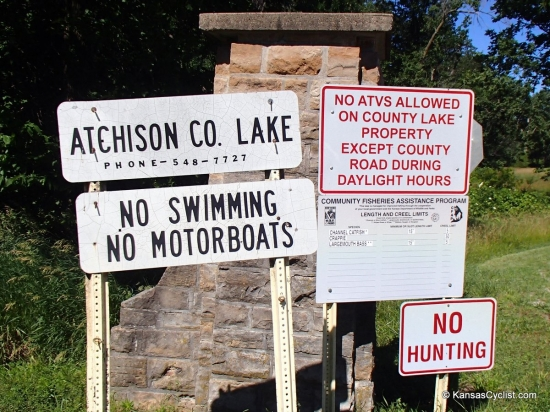 Atchison County Lake - Entrance Sign - The entrance sign for Atchison County Lake provides a few rules and regulations, as well as a phone number to call with questions: 785-548-7727.