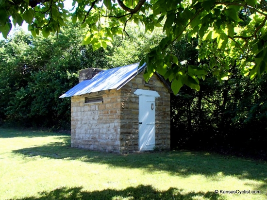 Atchison County Lake - Stone Restrooms - There are a number of these old stone restrooms around the lake, featuring pit toilets.