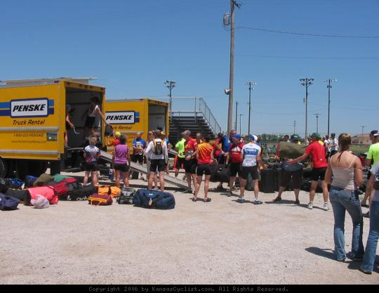 Biking Across Kansas 2006 - Unloading the luggage truck at an overnight stop in Medicine Lodge, KS on BAK 2006.