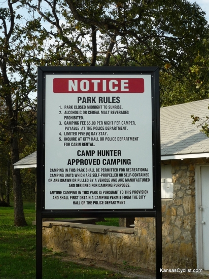 Camp Hunter - Entrance Sign - This is the sign at the entrance to Camp Hunter Park in Humboldt, Kansas. It lists the rules and regulations at the park. Please note that there is no fee for tent camping, though visitors must still check in with the Police Department.