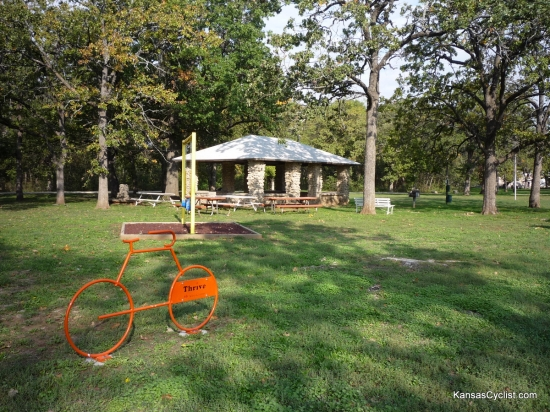 Camp Hunter - Shelter House - Here is a view of the main shelter house at Camp Hunter Park in Humboldt, Kansas. There are nearby picnic tables, grills, electricity, and this handy bike rack!