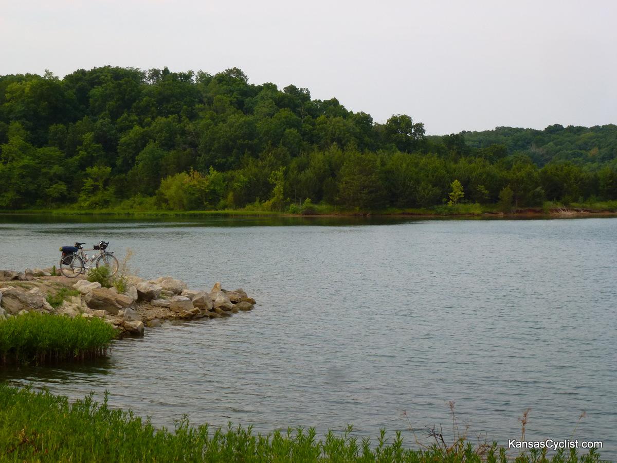 Douglas state fishing lake pier kansas cyclist photo for Fishing in kansas