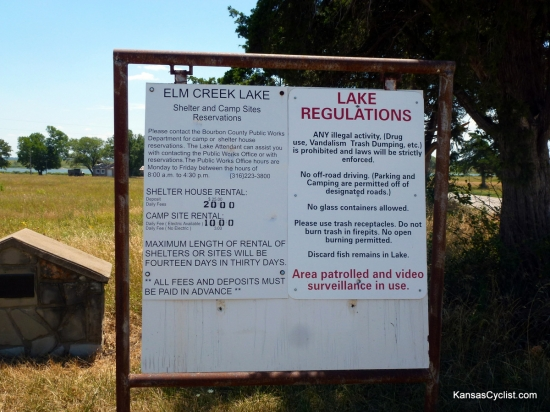 Elm Creek Lake - Entrance Sign - The entrance sign at Elm Creek Lake provides information about facilities at the lake, as well as the rules and regulations governing the property.