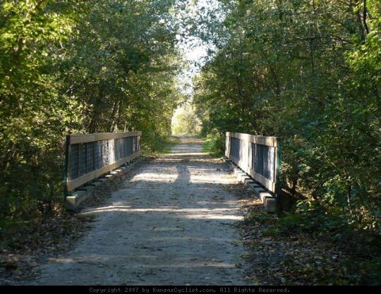 Flint Hills Nature Trail - Osawatomie - A bridge over a creek on the Flint Hills Nature Trail near Osawatomie.