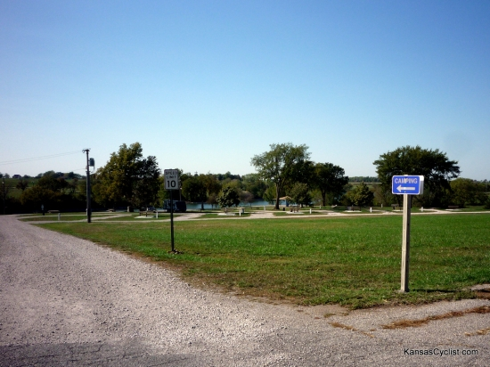 Garnett North Lake Park - Entrance - This is the entrance sign to the campground at North Lake Park in Garnett, Kansas, with a selection of campsites in the background.
