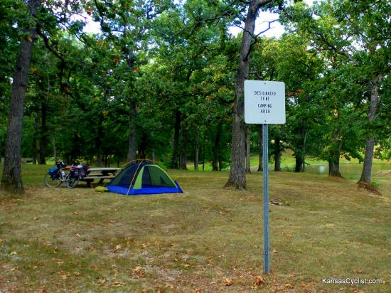 Gunn Park - Designated Tent Camping Area - This is the designated tent camping area at Gunn Park. There is one picnic table, and a water hydrant, as well as nearby restrooms. Cost is $4 per night.
