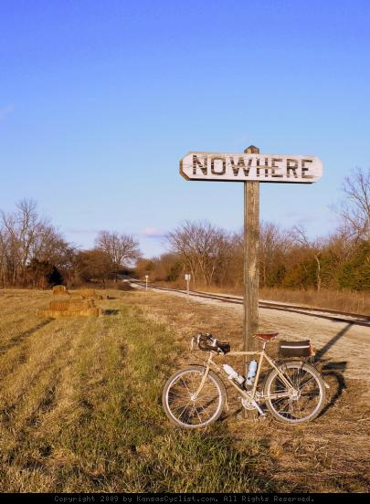 Nowhere, Kansas - Nowhere, KS was originally a stop on the Leavenworth, Lawrence and Fort Gibson railroad, and today the Midland Railway runs on these tracks. As far as I can tell, this is all that's left of the town. So this is a literal picture of