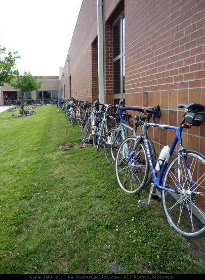 Bicycles Surround School in Eudora, Kansas - Parked bicycles surround a school in Eudora, Kansas during the 2010 Biking Across Kansas tour.