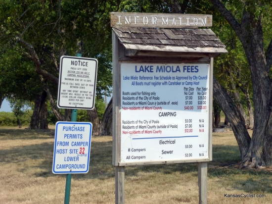 Lake Miola - Entrance Sign - This sign is located at the entrance to the camping area at Lake Miola. It details the camping fees ($12/night for non-residents), and some of the rules and regulations for the campground.