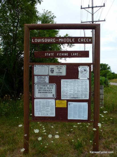 Louisburg Middle Creek State Fishing Lake - Entrance Sign - This is the entrance sign at Louisburg Middle Creek State Fishing Lake, showing rules and regulations for the lake.