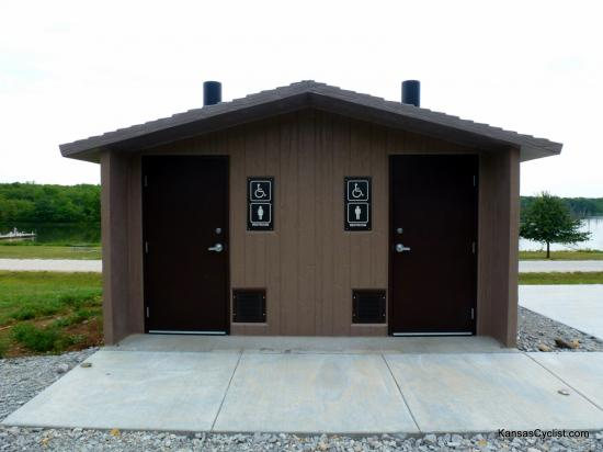 Louisburg Middle Creek State Fishing Lake - Restrooms - Louisburg Middle Creek State Fishing Lake has nearly new restroom facilities, with ADA-compliant pit toilets. However, there is no electricity or running water available at the lake.
