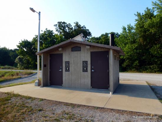 Miami State Fishing Lake - Restrooms - These are the restroom facilities at Miami State Fishing Lake. There are pit toilets, but no running water or electricity.