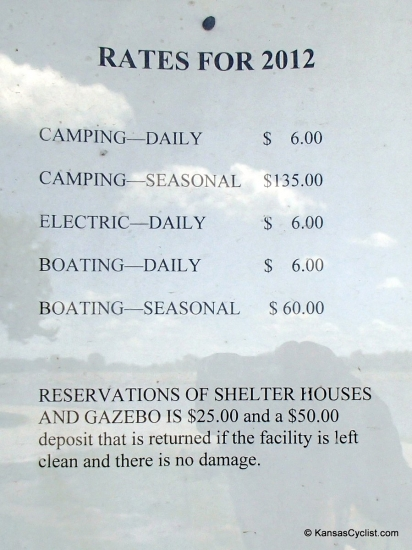 Mission Lake - Rates - This sign lists the rates for Mission Lake in Horton, Kansas. Camping is $6 per day.