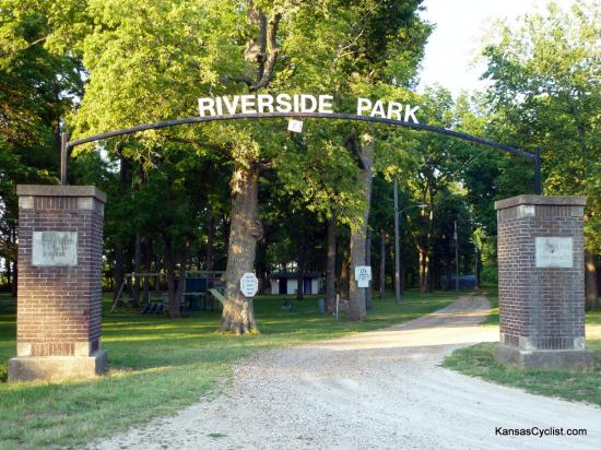 Neosho Falls Riverside Park - Entrance - This is entrance to Riverside Park. The left column reads