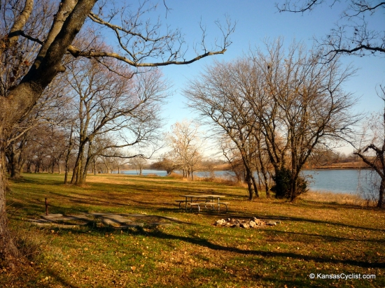 Osage State Fishing Lake - Campsite - This is a typical campsite at Osage State Fishing Lake, with a picnic table and fire ring. All campsites have easy access to the lake, and most offer abundant grass and shade.