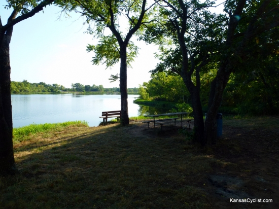 Pleasanton East City Lake - South Shore - This is a typical camping and picnicking area on the southern shore of the lake. Picnic tables, trash cans, and portable toilets (not shown) are provided.