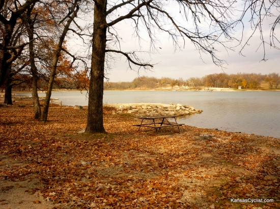 Pottawatomie State Fishing Lake No. 2 - Campsite - This is a typical campsite at Pottawatomie State Fishing Lake No. 2, which includes a picnic table, fire ring, shade trees, and easy lake access.