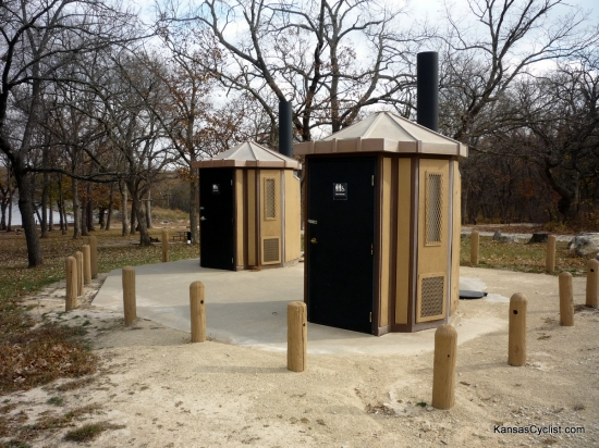 Pottawatomie State Fishing Lake No. 2 - Restrooms - These are the restroom facilities at Pottawatomie State Fishing Lake No. 2. Vault toilets are provided, but no potable water is available.