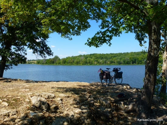 Rock Creek Lake - Rock Ledge - This photograph shows a touring bicycle perched on a rocky ledge on the shore of Rock Creek Lake. Not a great place to pitch a tent, but a wonderful spot to fish or simply watch the water...