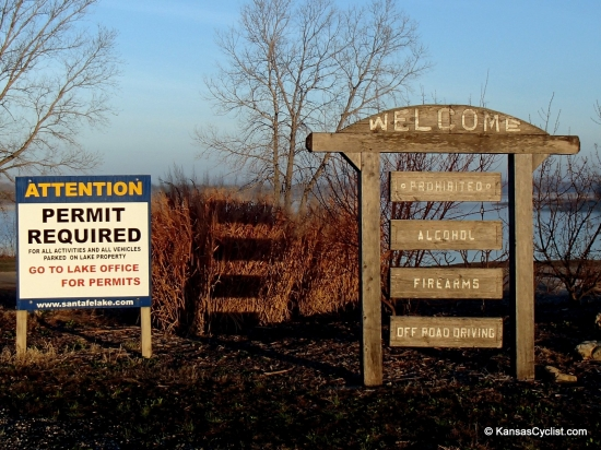Santa Fe Lake - Entrance Signs - These are the entrance signs at Santa Fe Lake. Note that alcohol and firearms are prohibited. All users need to purchase a permit at the lake office.