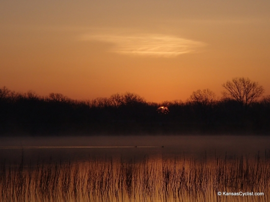Santa Fe Lake - Sunrise - Sunrise at Santa Fe Lake can be beautiful, with waterfowl and reeds in the water.