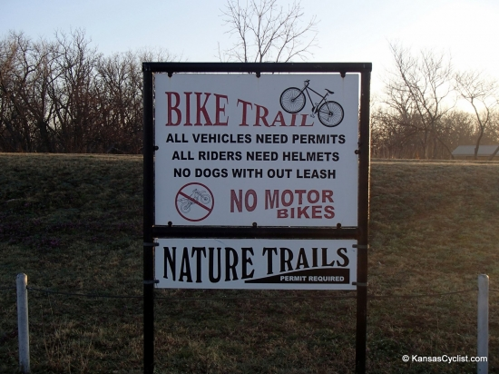 Santa Fe Lake Trails - Entrance Sign - This sign is located at the entrance to the Santa Fe Lake Trails. The trails are for walking and biking, and users are required to purchase a daily permit at the nearby office.