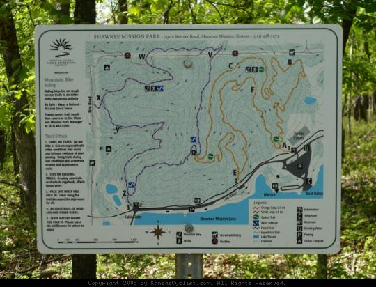 Shawnee Mission Park Trail Sign - Kansas Cyclist Photo Viewer