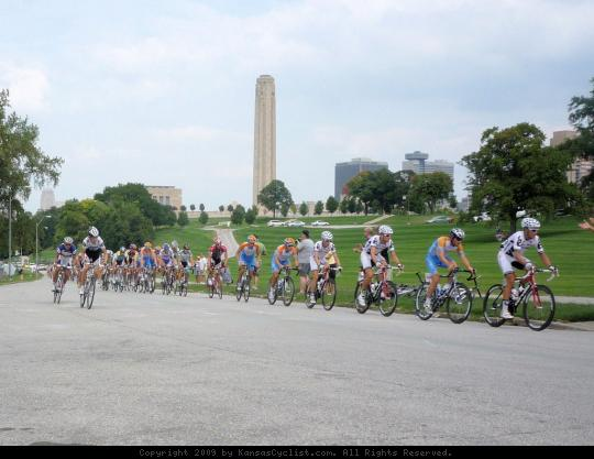 King of the Mountain - The peloton approaching the first King of the Mountain site, near the Liberty Memorial at the Tour of Missouri Circuit Race in Kansas City.