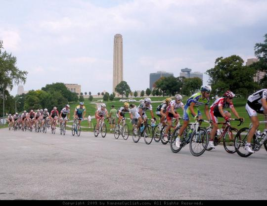 King of the Mountain - This photo shows the peloton approaching the first King of the Mountain site, near the Liberty Memorial, at the Tour of Missouri Circuit Race in Kansas City.
