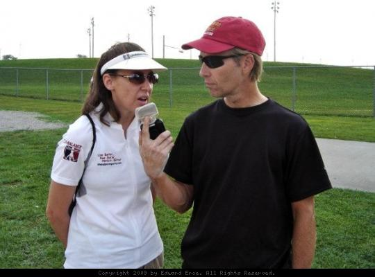 Gina Poertner - Randy Rasa interviewing Gina Poertner for the Kansas Cyclist Podcast at the Tour of Missouri in Sedalia.