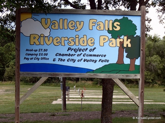 Valley Falls Riverside Park - Sign - This is the entrance sign for Valley Falls Riverside Park, with pricing information.