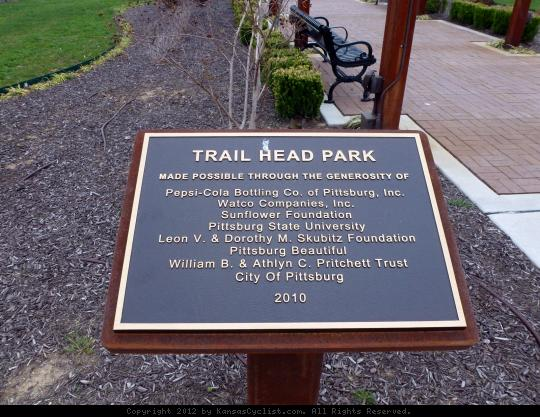 Trail Head Park Placard - The Watco Trail and Trail Head Park were made possible through the generosity of these organizations and volunteers.