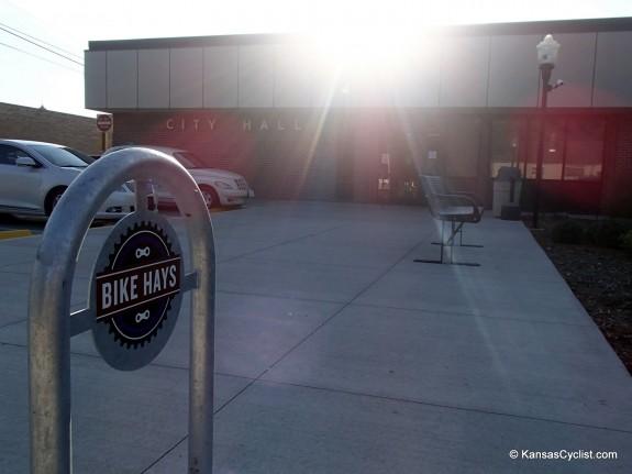 Bike Hays bike rack at city hall.