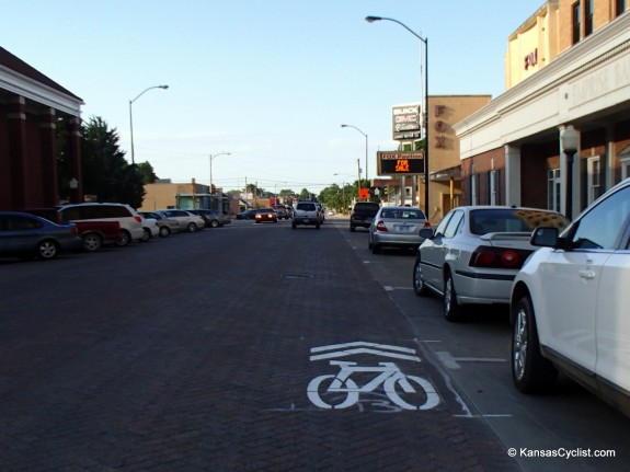 Some sharrows appear to be installed in the door zone.
