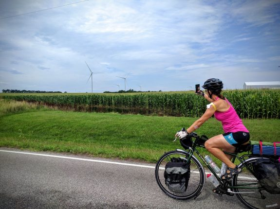 Biking through a wind farm near Waverly.