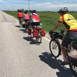 Our group formed a pace line heading east out of Leroy. A pace line is seldom used when bike touring, but it can be a handy technique to handle a stiff headwind.