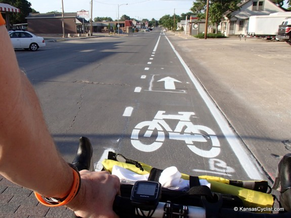 Checking out the new bike lanes in Hays.