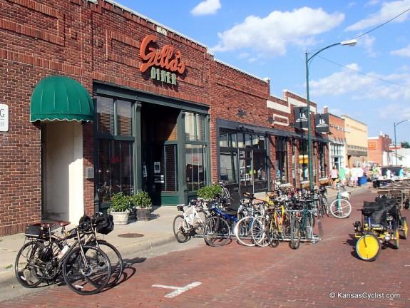 Lots of bikes in downtown Hays!