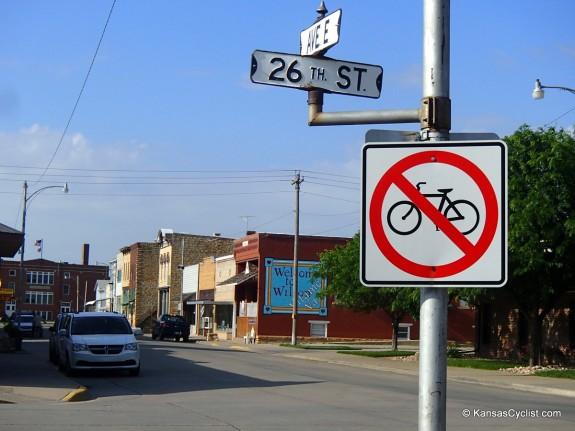 """No Bikes"" sign in Wilson, Kansas. Shame on you, Wilson."