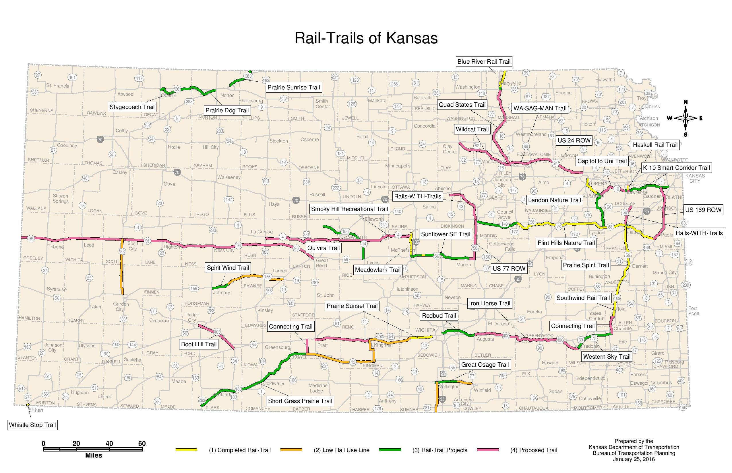 Kansas RailstoTrails Map Kansas Cyclist News - Kansas rivers map