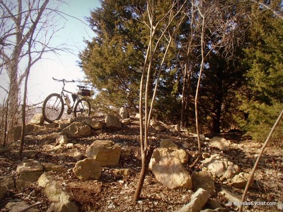 A rocky outcrop on the Lehigh Portland Trails in Iola, Kansas