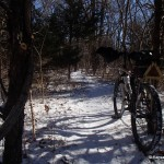 Snowy singletrack on the Lehigh Portland Trails in Iola, Kansas
